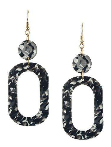 Retro Vintage Style Marble Lucite Stone Dangle Earrings (Black Multi)