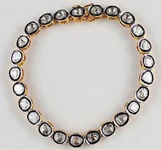 Vintage Repro. Polky Un-Cut Diamond 925 Silver Wedding Tennis Bracelet @... - $361.18