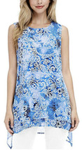 Fever Double Woven Tank Sleeveless (Blue Mosaic Glass, Small) - $12.99