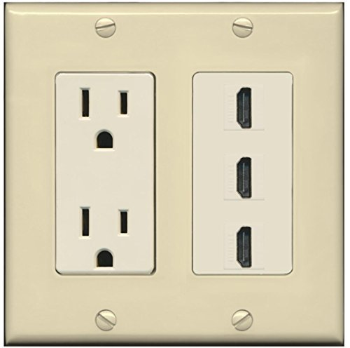 RiteAV - 15 Amp Power Outlet 3 Port HDMI Decora Wall Plate - Ivory/Light Almond
