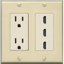 RiteAV - 15 Amp Power Outlet 3 Port HDMI Decora Wall Plate - Ivory/Light... - $29.69