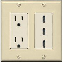 RiteAV - 15 Amp Power Outlet 3 Port HDMI Decora Wall Plate - Ivory/Light Almond - $29.69