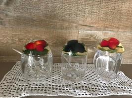 Vintage Jam Jelly Jars Set of Three Apple Strawberry Plum - $42.41