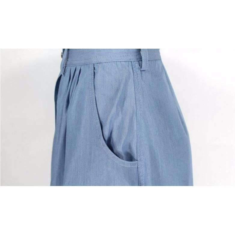 Denim Button Loose Women Long Summer Skirt