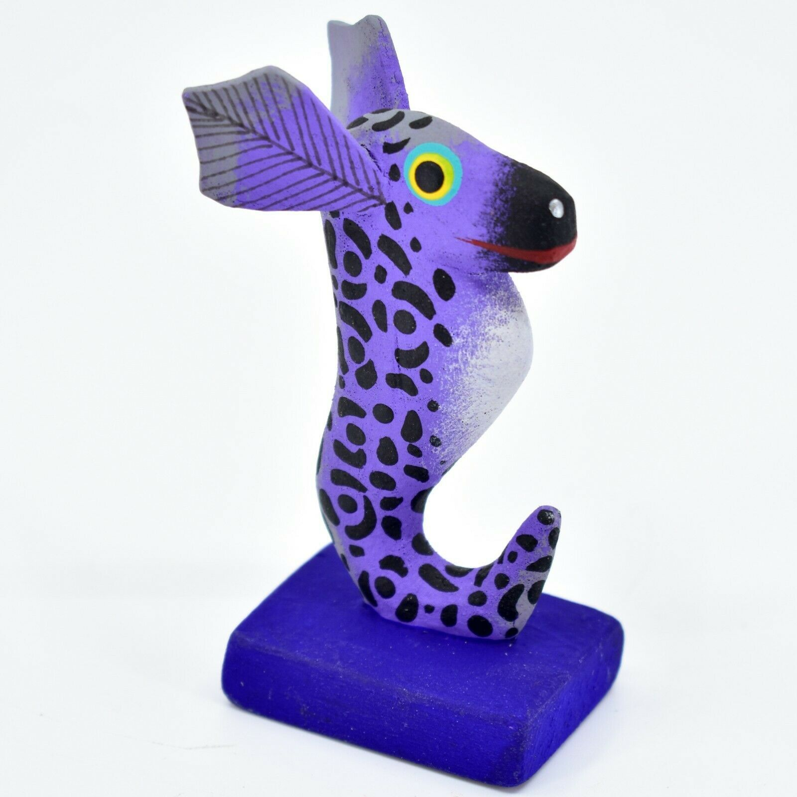 Handmade Alebrijes Oaxacan Painted Wood Folk Art Zebra Striped Seahorse Figurine
