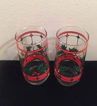 Vintage 70s Stained glass holly Christmas cocktail glasses image 4