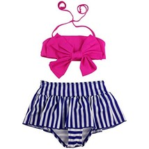 Jastore Baby Girls Big Bowknot Stripe 2 Pieces Swimwear Swimsuits Beach ... - $15.02