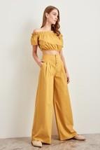 New mustard yellow high waist wide leg bell women pants trousers fall au... - $38.00