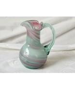 Hand Blown Glass Creamer Milk Pitcher Pink Gray Swirls Applied Handle Ar... - $18.95