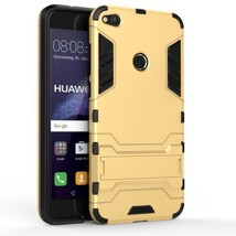 Gold Kickstand Case for Huawei P8 Lite 2017 - Heavy Duty Hybrid Hard Cover USA - $8.40