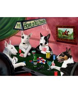 Home of Bull Terriers 4 Dogs Playing Poker Art Portrait Print Woven Thro... - $147.51