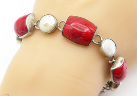 925 Sterling Silver - Vintage Red Coral & Mother Of Pearl Chain Bracelet... - $84.23