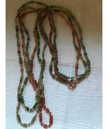Estate Long Triple Strand Earth Tones Green Orange Brown Ridged Plastic ... - $10.39