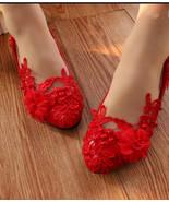 Ladies Blush Red Lace Wedding Flats Shoes,Women Bridal Flat Shoes US 4,5... - £30.95 GBP