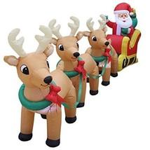 Christmas Inflatable Garden Yard Decoration Light Santa Claus Sleigh 3 R... - $3.541,03 MXN