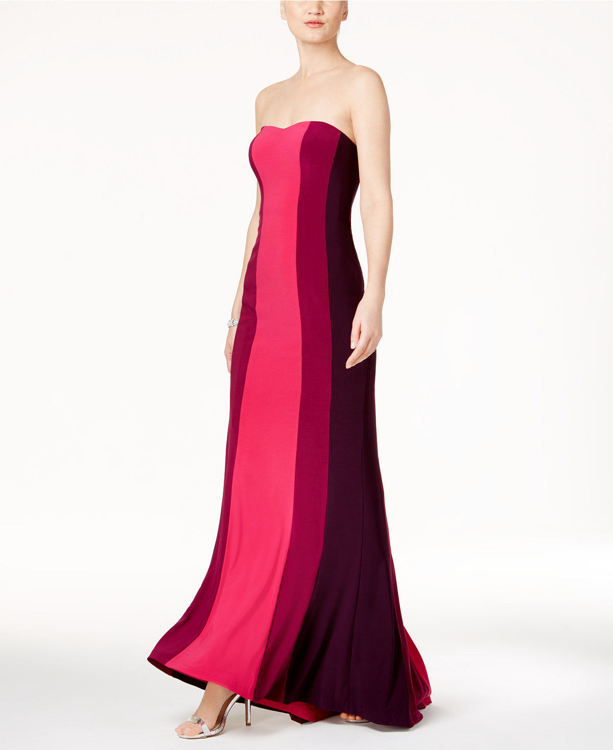 Adrianna Papell Colorblocked Strapless Gown Fuchsia Multi Size 6