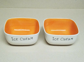 Vintage Woodard & Charles Orange Ice Cream Dish Set of Two (2) Thailand ... - $26.68