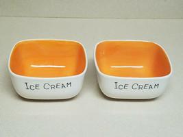 Vintage Woodard & Charles Orange Ice Cream Dish Set of Two (2) Thailand ... - $26.68
