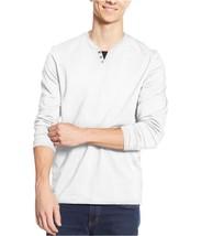 Alfani Men's Split Neck Ls Embellished T-shirt Bright White XL - $19.80