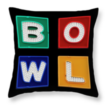 BOWL Neon Bowling Sign, Throw Pillow, seat cush... - $41.99 - $69.99