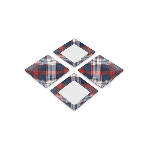 Tommy Hilfiger Plaid Square Accent Side Salad Plates  (Set of 4)  New