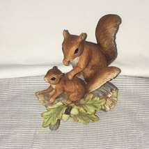 Vintage Homco Red Squirrels Mama and Baby on Log Branch Porcelain #1457 EUC - $16.82