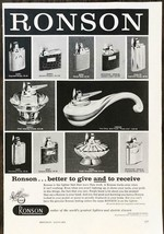 1960 Ronson Lighters Holiday PRINT AD Assorted Deisgns Models Give and R... - $11.69