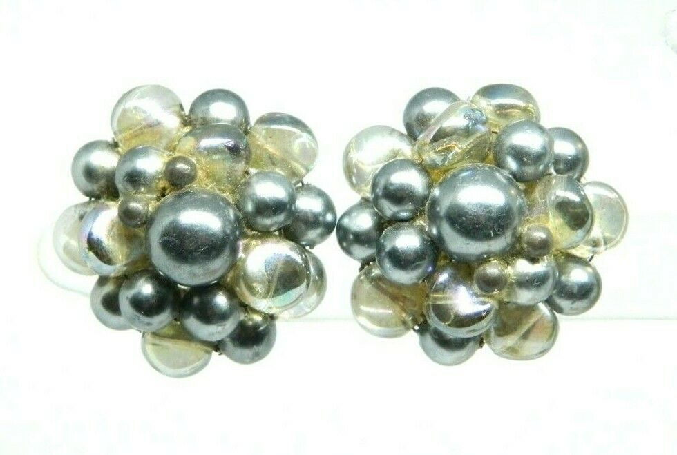 TRIFARI Signed Silver Tone Gray Plastic Clear AB Glass Beaded Clip Earrings - $19.80