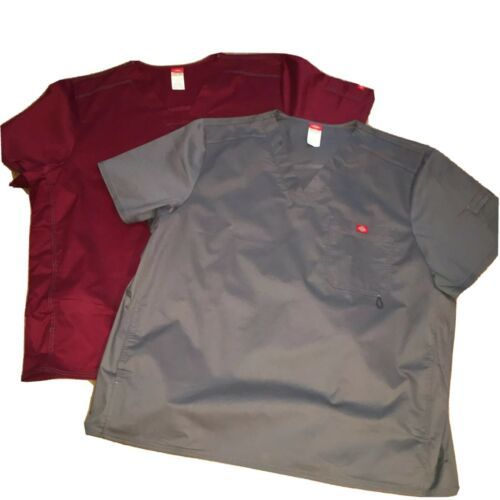 Primary image for 2 New Dickies GenFlex Youtility Mens Solid Nursing Scrub Top 3XL Pewz Wine Gray