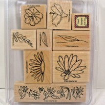Stampin Up Rubber Stamps 2004 Lot Of 9 Flower Theme - $8.59