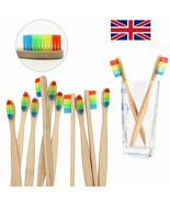 BAMBOO Rainbow Toothbrush Nylon Fibre Bristles Wooden Handle KIDS / ADUL... - $1.09