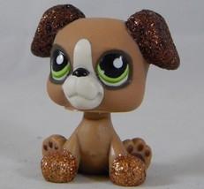 Littlest Pet Shop #2351 SPARKLE GLITTER Boxer Puppy Dog LPS Green Eyes H... - $9.85