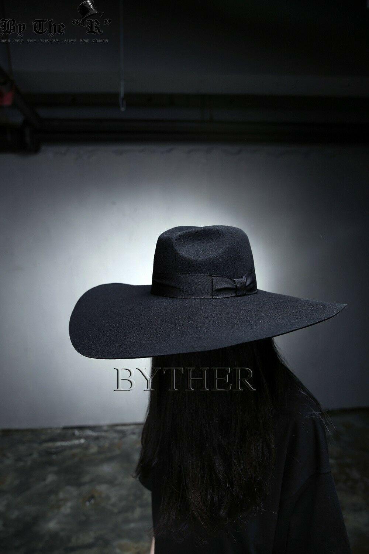 ByTheR Unisex Modern Chic Classic Style Floppy Wide Brim Wool Felt Fedora Hat image 11