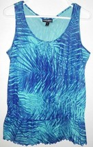 FASHION BUG Shirt Sz M Women's Teal Blue Sleeveless Peplum Sheer Top  - $13.85