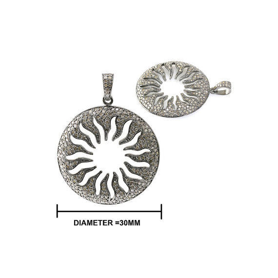 Primary image for 925 Sterling Silver Sun Design Pendant Natural Diamond Pave Handmade Jewelry NEW