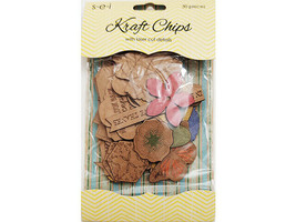 SEI Kraft Chips with Laser Cut Details, 30 Pieces