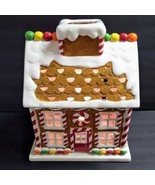 Harry Slatkin 2009 Ceramic Gingerbread House Candle Luminary w/Base Chri... - $74.25