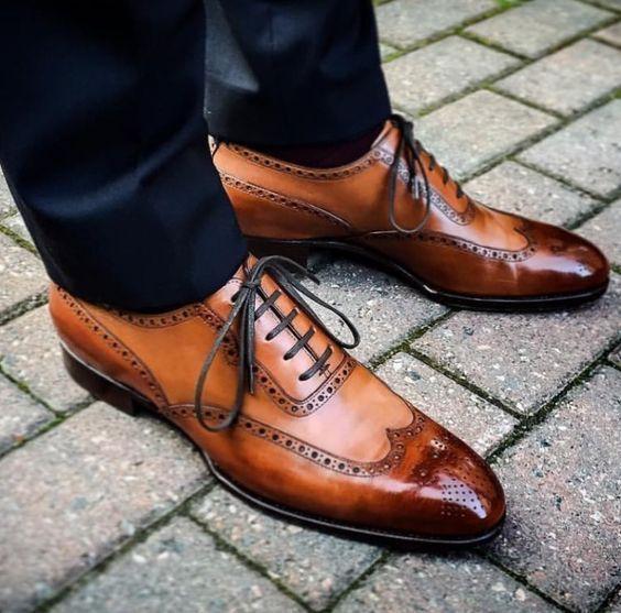 Handmade Men Tan Color Wingtip Brogue Formal Dress Shoes Men Formal