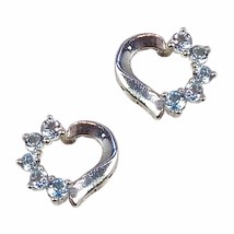 Blue Topaz Heart Earrings Openwork Sterling Silver Love Pierced Fashion ... - $19.99