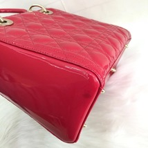 Authentic Christian Dior 2017 Lady Dior Medium Red Patent Shoulder Tote Bag GHW image 6