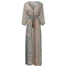 Women's Brand Fashion Boho Retro Chiffon Beach Maxi Sundress image 3
