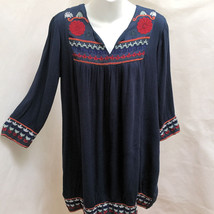 Romeo Juliet Couture M Dress Blue Floral Embroidered Shift Boho Tribal - $24.48