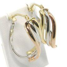 Ohrringe Kreis Gold 750 18K, Gelb Weiss Pink, Ovale , Onda, Wellig, 2.2 CM image 5