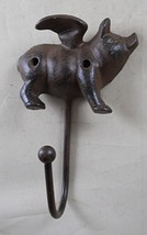 GSM Iron Flying Pig Coat Rack with a Hook,Brown image 1