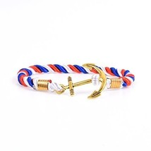 RIVERTREE Mens Gold Anchor Charm Bracelet Braided Weave Nylon Rope Wrist... - $17.87