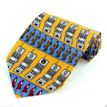 Call Me Mens Silk Necktie Vicky Davis Design Cell Phone Business Blue Ne... - $19.75