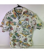 Bermuda Mnes Tropical Button Up Shirt Ivory Short Sleeve Point Collar Po... - £12.38 GBP