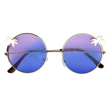Sunglasses Novelty Indie Palm Tree Gradient Lens Round Hippie Sunglasses - $8.45