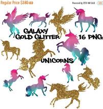 Galaxy unicorns, gold glitter unicorns, cosmic unicorns, pegasus silhoue... - $3.42