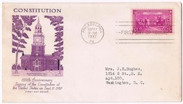 1937 150th Anniversary Of Signing US Constitution 3c Issue 798 FDC Grims... - $7.92